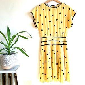 VTG 80s Nipon Boutique Silk Yellow Polka Dot Dress